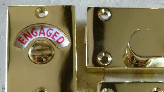 長方形型の表示錠(ゴールド色のメッキ加工)