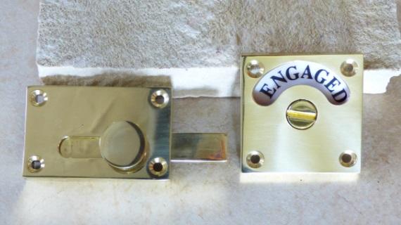正方形型の表示錠(真鍮製)
