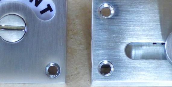 正方形型の表示錠(クロムつや消し)