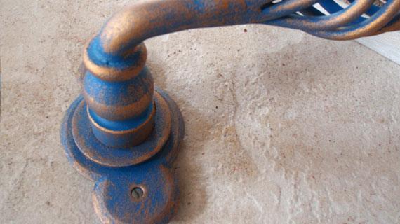 アンティークゴールドブルー仕上げイタリア製レバーハンドル